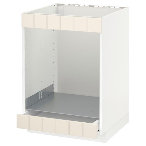 METOD / MAXIMERA Base cab for hob+oven w drawer, white/Hittarp off-white, 60x60 cm