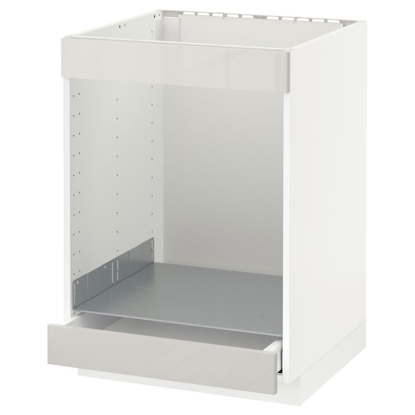 METOD / MAXIMERA Base cab for hob+oven w drawer, white/Ringhult light grey, 60x60 cm