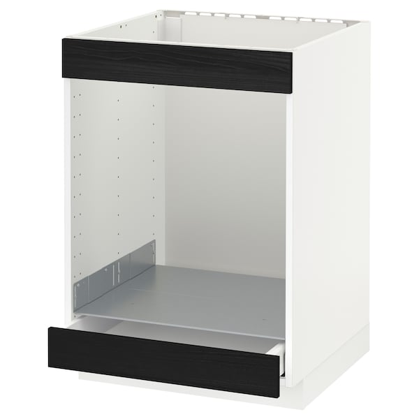 METOD / MAXIMERA Base cab for hob+oven w drawer, white/Tingsryd black, 60x60 cm