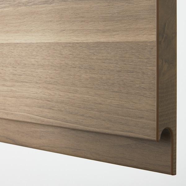 METOD / MAXIMERA Base cab for hob+oven w drawer, white/Voxtorp walnut, 60x60 cm