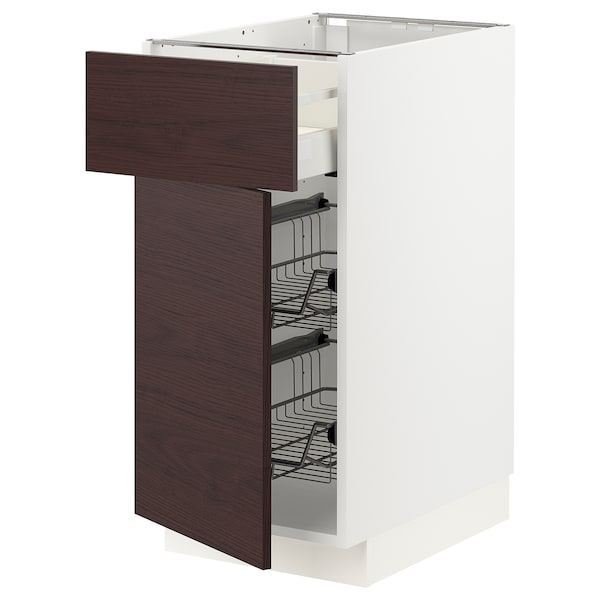 METOD / MAXIMERA Base cab w wire basket/drawer/door, white Askersund/dark brown ash effect, 40x60 cm