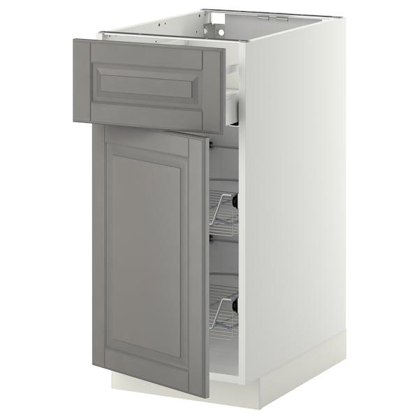 METOD / MAXIMERA Base cab w wire basket/drawer/door, white/Bodbyn grey, 40x60 cm