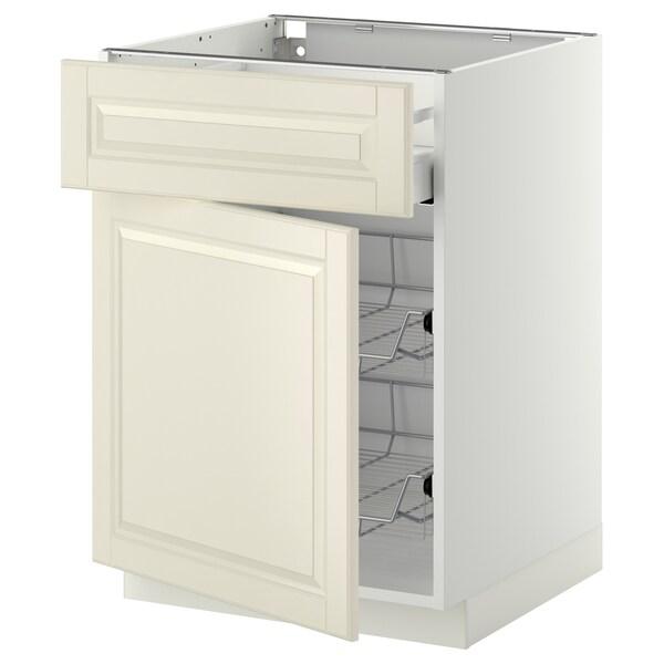 METOD / MAXIMERA Base cab w wire basket/drawer/door, white/Bodbyn off-white, 60x60 cm