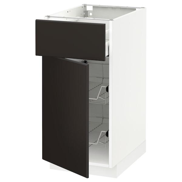 METOD / MAXIMERA Base cab w wire basket/drawer/door, white/Kungsbacka anthracite, 40x60 cm