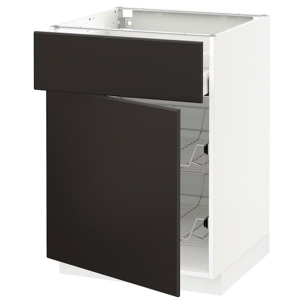METOD / MAXIMERA Base cab w wire basket/drawer/door, white/Kungsbacka anthracite, 60x60 cm