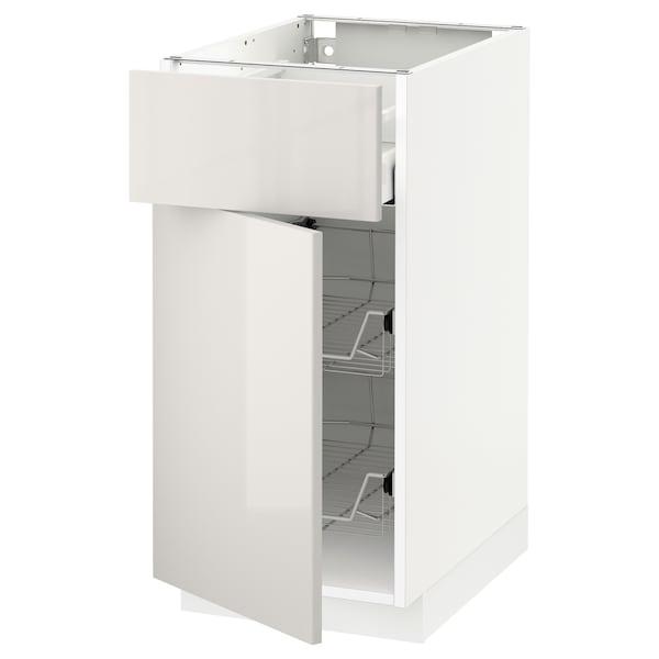METOD / MAXIMERA Base cab w wire basket/drawer/door, white/Ringhult light grey, 40x60 cm
