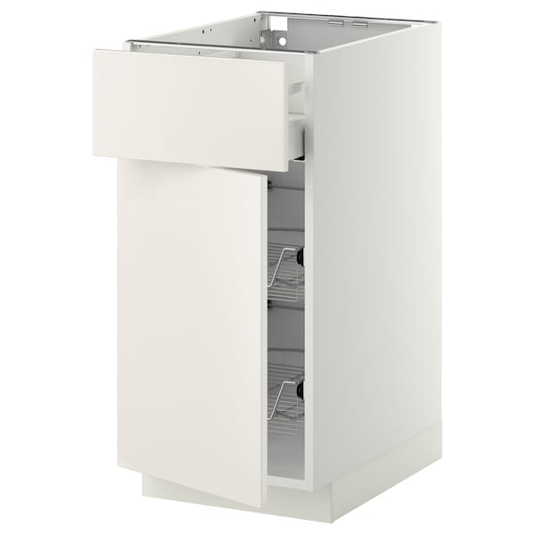 METOD / MAXIMERA Base cab w wire basket/drawer/door, white/Veddinge white, 40x60 cm