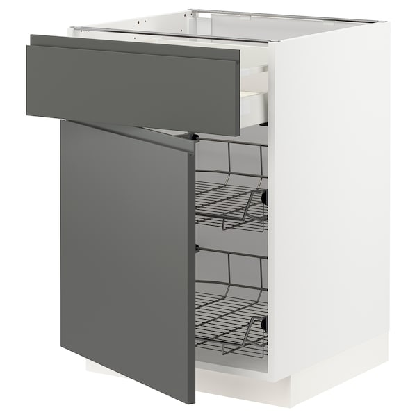 METOD / MAXIMERA Base cab w wire basket/drawer/door, white/Voxtorp dark grey, 60x60 cm