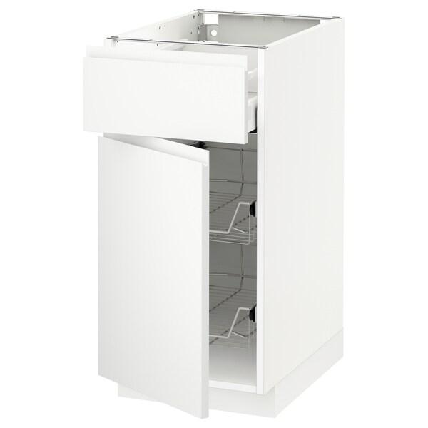 METOD / MAXIMERA Base cab w wire basket/drawer/door, white/Voxtorp matt white, 40x60 cm