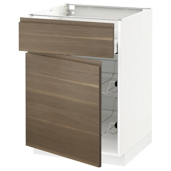 METOD / MAXIMERA Base cab w wire basket/drawer/door, white/Voxtorp walnut effect, 60x60 cm