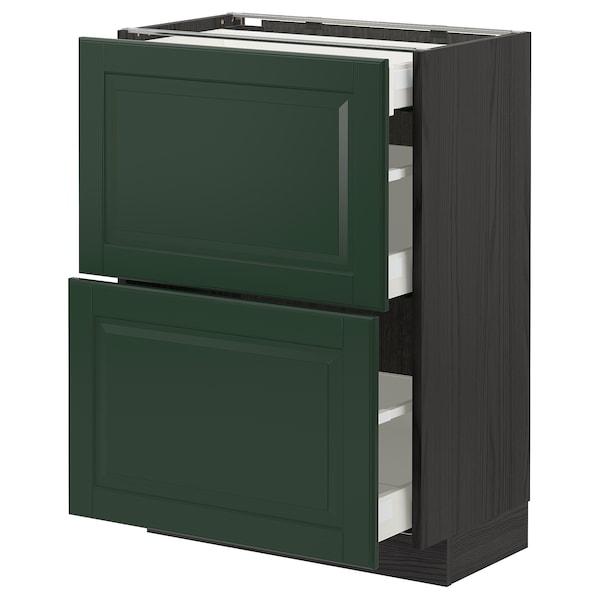 METOD / MAXIMERA خ. قاعدة مع 2واجهات/3أدراج, أسود/Bodbyn أخضر غامق, 60x37 سم
