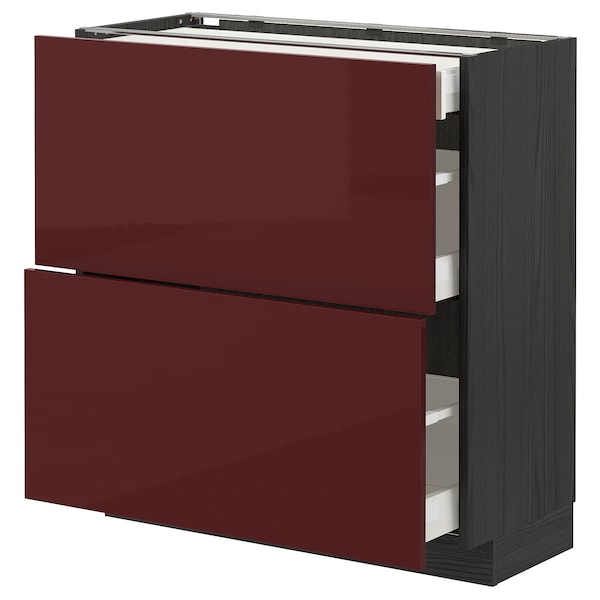 METOD / MAXIMERA Base cab with 2 fronts/3 drawers, black Kallarp/high-gloss dark red-brown, 80x37 cm
