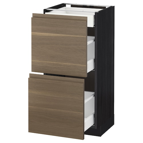 METOD / MAXIMERA base cab with 2 fronts/3 drawers black/Voxtorp walnut 40.0 cm 39.1 cm 88.0 cm 37.0 cm 80.0 cm