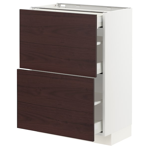 METOD / MAXIMERA Base cab with 2 fronts/3 drawers, white Askersund/dark brown ash effect, 60x37 cm