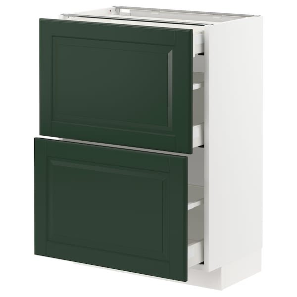 METOD / MAXIMERA Base cab with 2 fronts/3 drawers, white/Bodbyn dark green, 60x37 cm