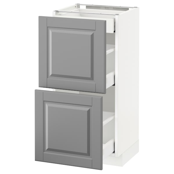 METOD / MAXIMERA Base cab with 2 fronts/3 drawers, white/Bodbyn grey, 40x37 cm