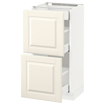 METOD / MAXIMERA Base cab with 2 fronts/3 drawers, white/Bodbyn off-white, 40x37 cm