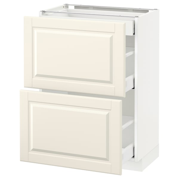 METOD / MAXIMERA Base cab with 2 fronts/3 drawers, white/Bodbyn off-white, 60x37 cm