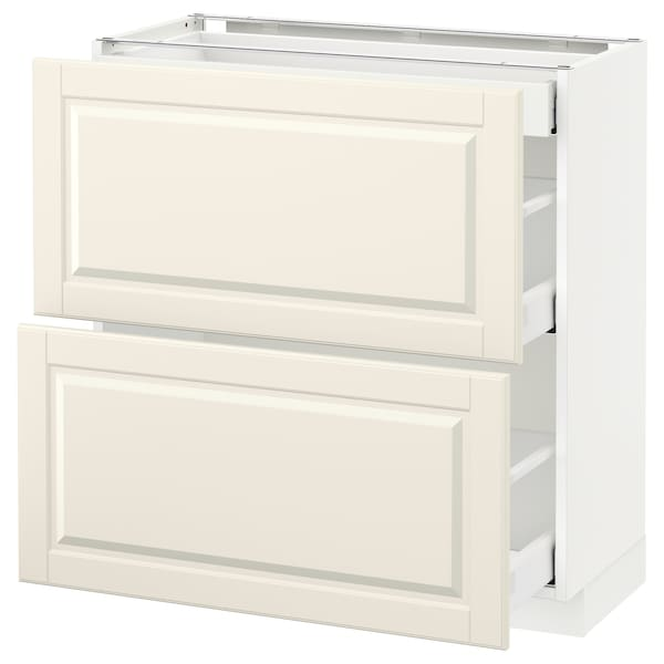 METOD / MAXIMERA base cab with 2 fronts/3 drawers white/Bodbyn off-white 80.0 cm 39.5 cm 88.0 cm 37.0 cm 80.0 cm
