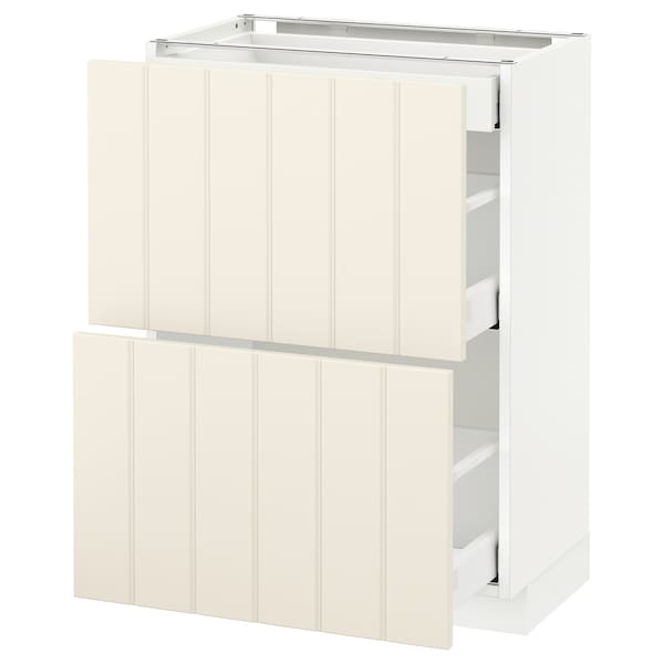 METOD / MAXIMERA Base cab with 2 fronts/3 drawers, white/Hittarp off-white, 60x37 cm