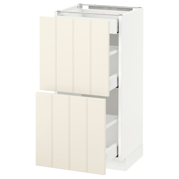 METOD / MAXIMERA Base cab with 2 fronts/3 drawers, white/Hittarp off-white, 40x37 cm