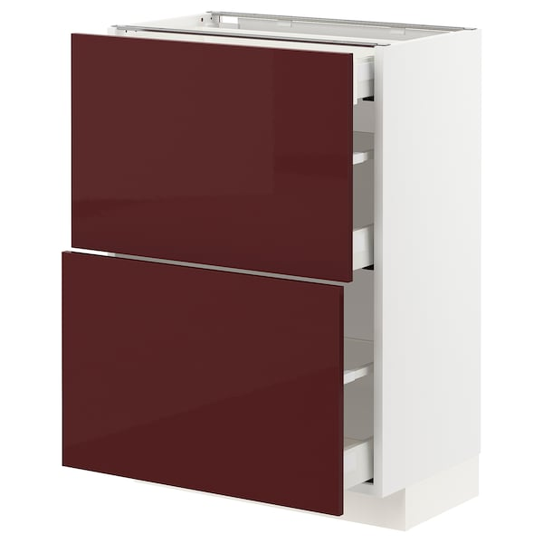 METOD / MAXIMERA Base cab with 2 fronts/3 drawers, white Kallarp/high-gloss dark red-brown, 60x37 cm