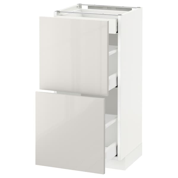 METOD / MAXIMERA Base cab with 2 fronts/3 drawers, white/Ringhult light grey, 40x37 cm
