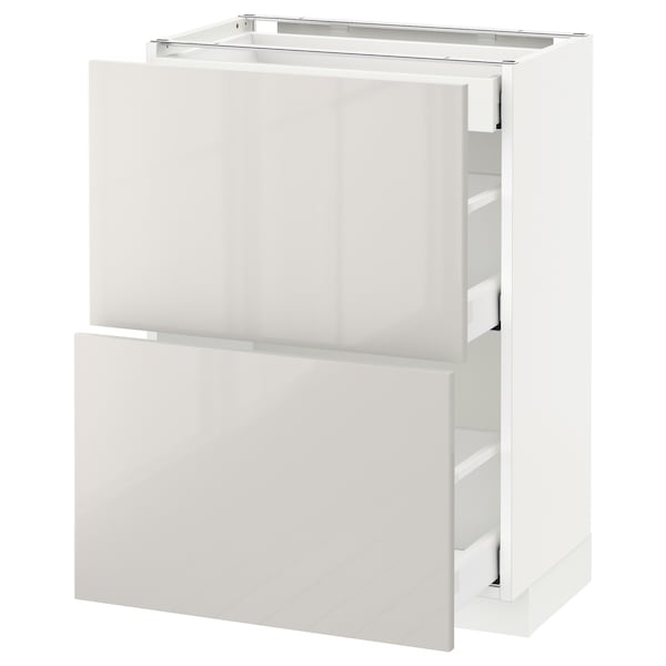 METOD / MAXIMERA Base cab with 2 fronts/3 drawers, white/Ringhult light grey, 60x37 cm
