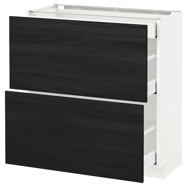 METOD / MAXIMERA base cab with 2 fronts/3 drawers white/Tingsryd black 80.0 cm 39.2 cm 88.0 cm 37.0 cm 80.0 cm