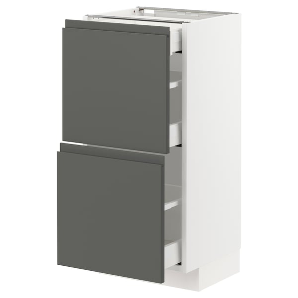 METOD / MAXIMERA Base cab with 2 fronts/3 drawers, white/Voxtorp dark grey, 40x37 cm