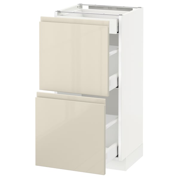 METOD / MAXIMERA Base cab with 2 fronts/3 drawers, white/Voxtorp high-gloss light beige, 40x37 cm