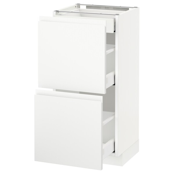 METOD / MAXIMERA Base cab with 2 fronts/3 drawers, white/Voxtorp matt white, 40x37 cm