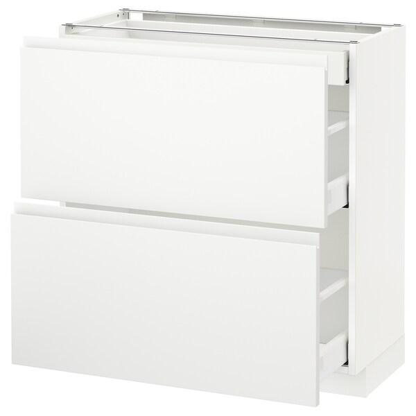 METOD / MAXIMERA base cab with 2 fronts/3 drawers white/Voxtorp matt white 80.0 cm 39.1 cm 88.0 cm 37.0 cm 80.0 cm