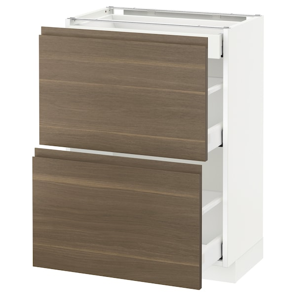 METOD / MAXIMERA Base cab with 2 fronts/3 drawers, white/Voxtorp walnut, 60x37 cm