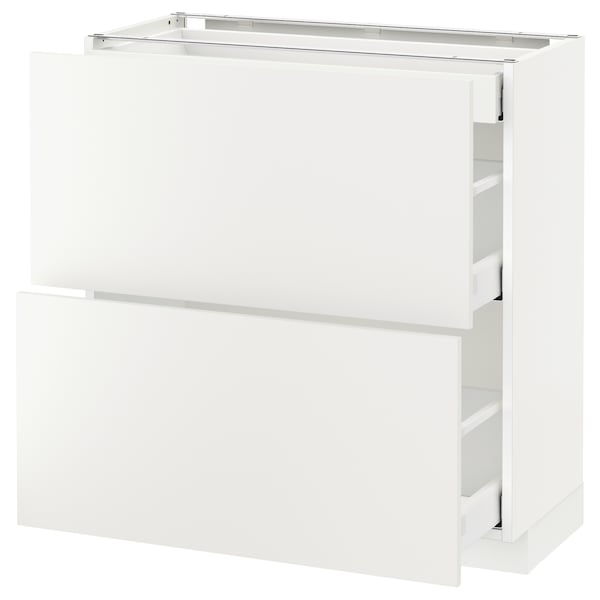 METOD / MAXIMERA base cab with 2 fronts/3 drawers white/Häggeby white 80.0 cm 39.2 cm 88.0 cm 37.0 cm 80.0 cm