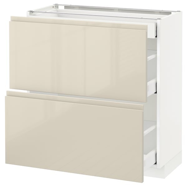 METOD / MAXIMERA base cab with 2 fronts/3 drawers white/Voxtorp high-gloss light beige 80.0 cm 39.1 cm 88.0 cm 37.0 cm 80.0 cm