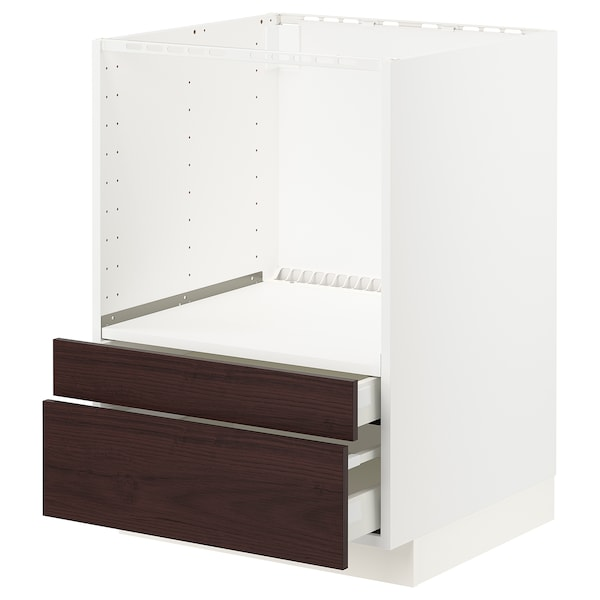 METOD / MAXIMERA Base cabinet f combi micro/drawers, white Askersund/dark brown ash effect, 60x60 cm