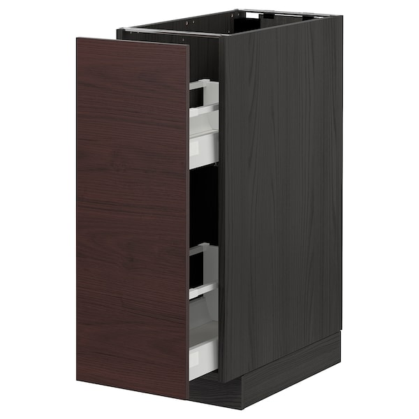 METOD / MAXIMERA Base cabinet/pull-out int fittings, black Askersund/dark brown ash effect, 30x60 cm