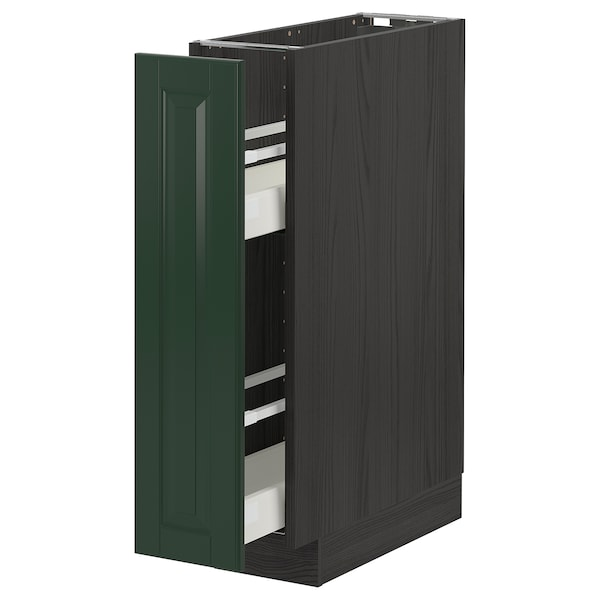 METOD / MAXIMERA Base cabinet/pull-out int fittings, black/Bodbyn dark green, 20x60 cm