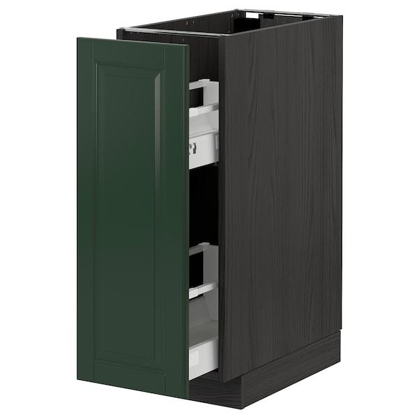 METOD / MAXIMERA Base cabinet/pull-out int fittings, black/Bodbyn dark green, 30x60 cm