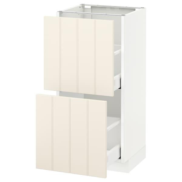 METOD / MAXIMERA Base cabinet with 2 drawers, white/Hittarp off-white, 40x37 cm