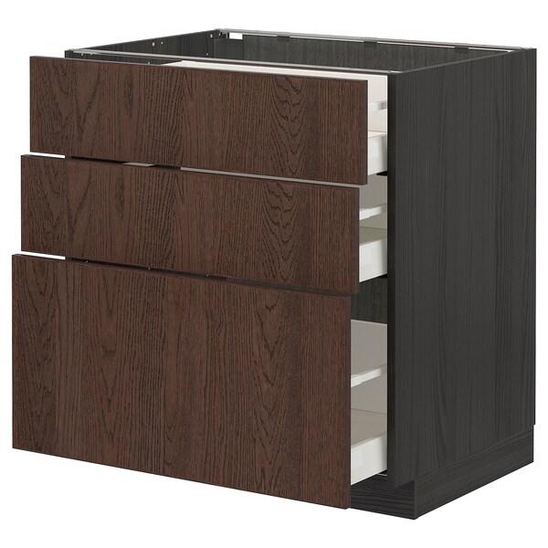 METOD / MAXIMERA Base cabinet with 3 drawers, black/Sinarp brown, 80x60 cm