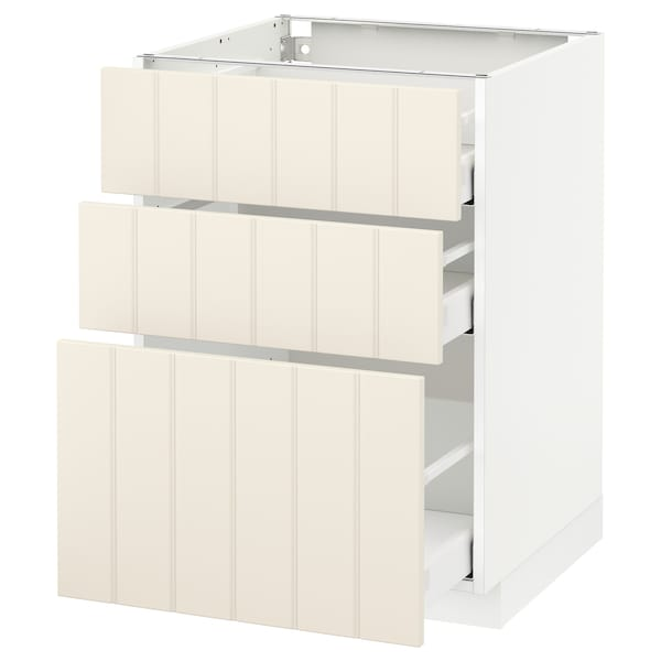 METOD / MAXIMERA Base cabinet with 3 drawers, white/Hittarp off-white, 60x60 cm