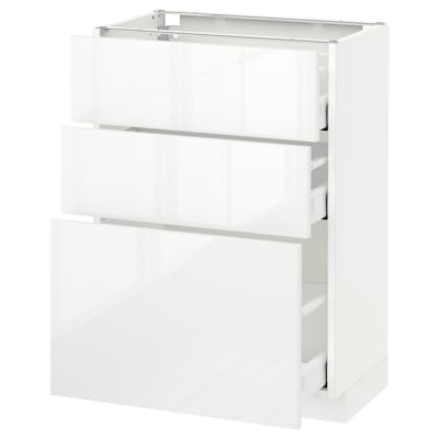 METOD / MAXIMERA Base cabinet with 3 drawers, white/Ringhult white, 60x37 cm