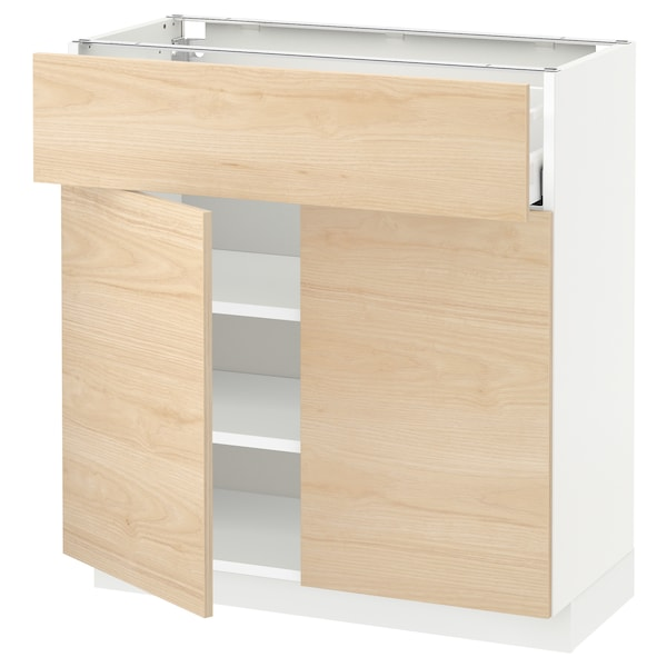 METOD / MAXIMERA Base cabinet with drawer/2 doors, white/Askersund light ash effect, 80x37 cm