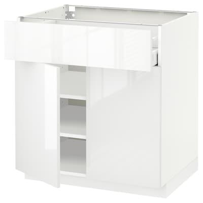 METOD / MAXIMERA خزانة قاعدة مع درج/بابين, أبيض/Ringhult أبيض, 80x60 سم