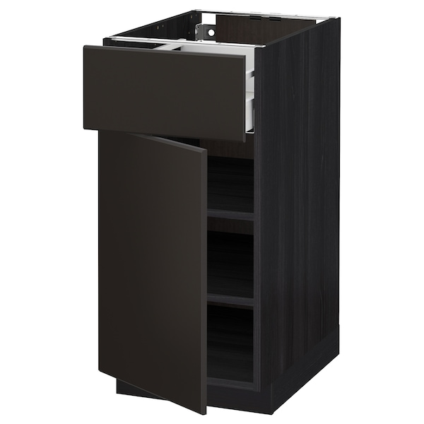 METOD / MAXIMERA Base cabinet with drawer/door, black/Kungsbacka anthracite, 40x60 cm