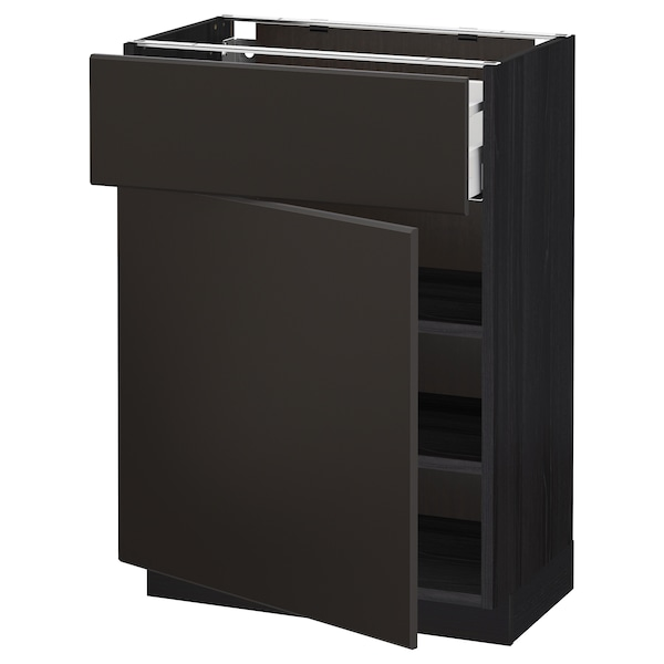 METOD / MAXIMERA Base cabinet with drawer/door, black/Kungsbacka anthracite, 60x37 cm