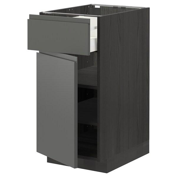 METOD / MAXIMERA Base cabinet with drawer/door, black/Voxtorp dark grey, 40x60 cm