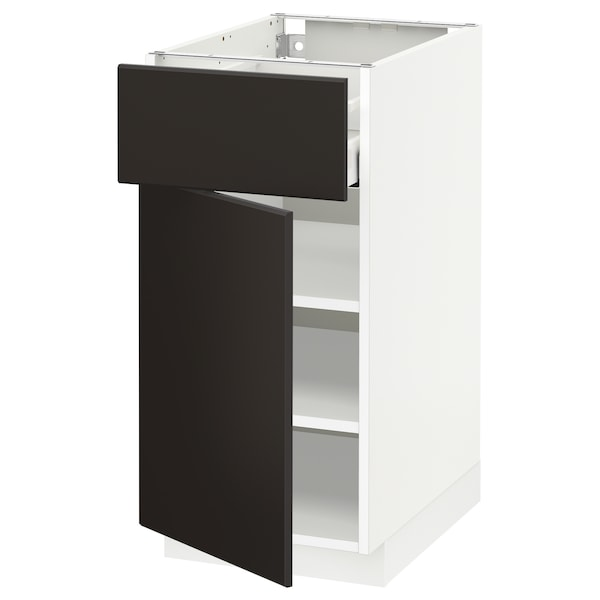 METOD / MAXIMERA Base cabinet with drawer/door, white/Kungsbacka anthracite, 40x60 cm